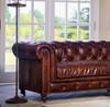 "Conrad 96"" Vintage Cigar leather chesterfield sofa"