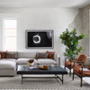 Lindy Tufted Black Leather Ottoman Coffee Table 63""