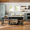Ian Solid Wood and White Italian Marble Top Kitchen Island