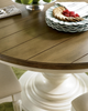 Country-Chic Maple Wood White Round Expendable Pedestal Kitchen Table Top