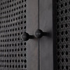 Tilda Black Woven Cane 4 Arched Door Tall Cabinet