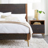 Anna Modern Carved Solid Wood 2-Drawers Nightstand