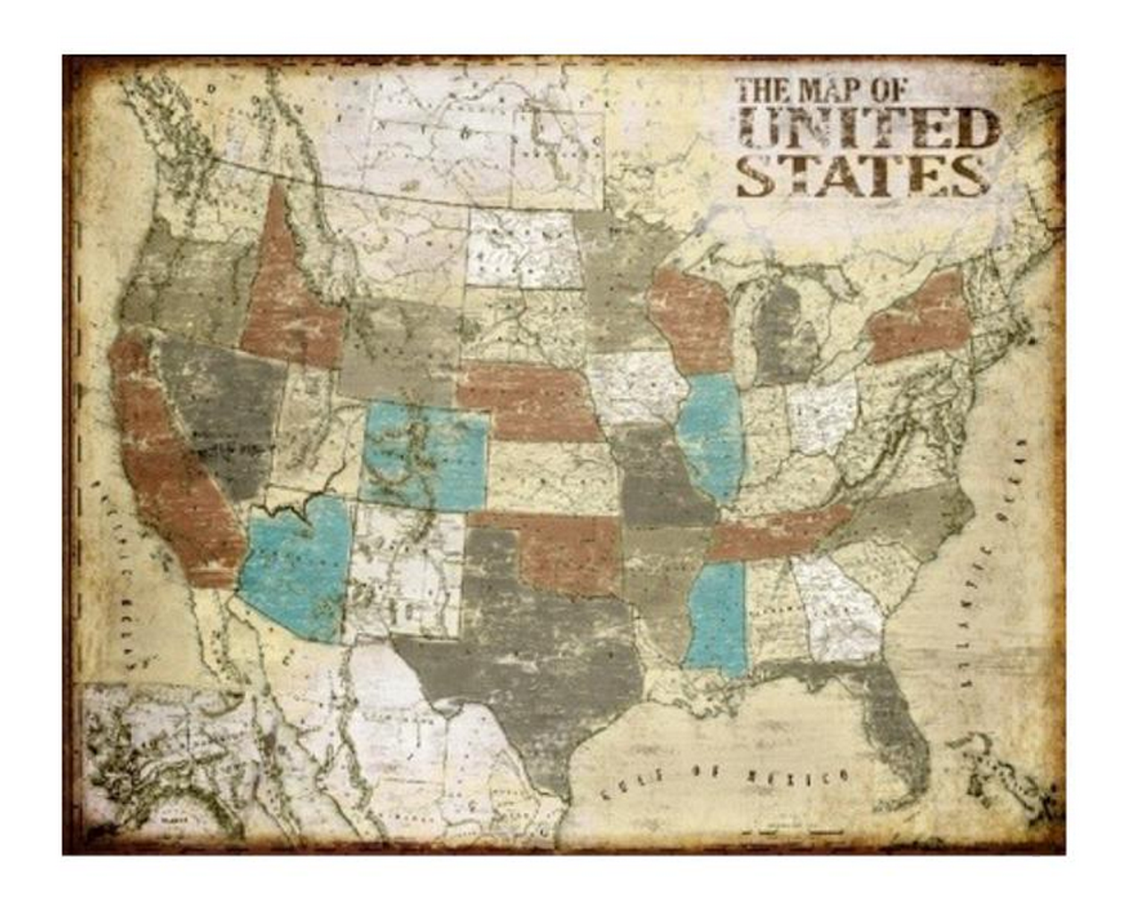 Vintage U.S Map - Zin Home