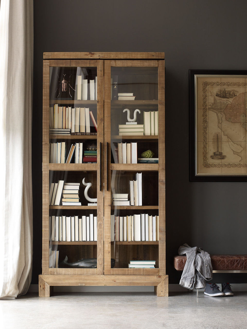 Angora Handcrafted Wood Bookcase Cabinet