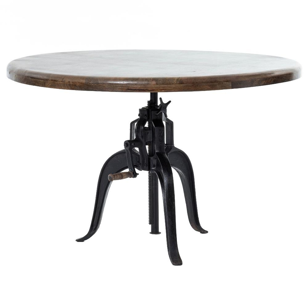Industrial Cast Iron Wood Crank Dining Table 48