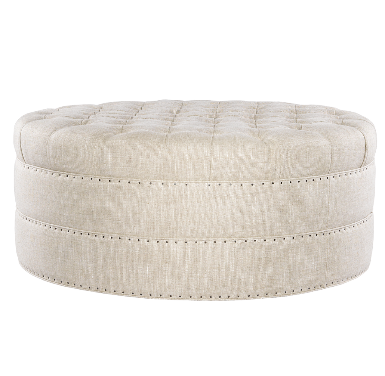 Phenomenal Grand Linen Upholstered Round Tufted Ottoman Gamerscity Chair Design For Home Gamerscityorg