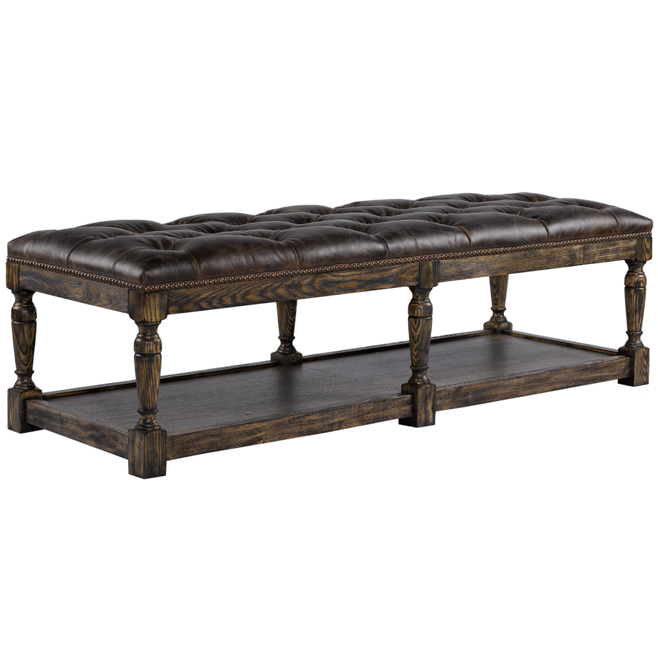 Valencia Leather Upholstered Tufted Bedroom Bench Zin Home