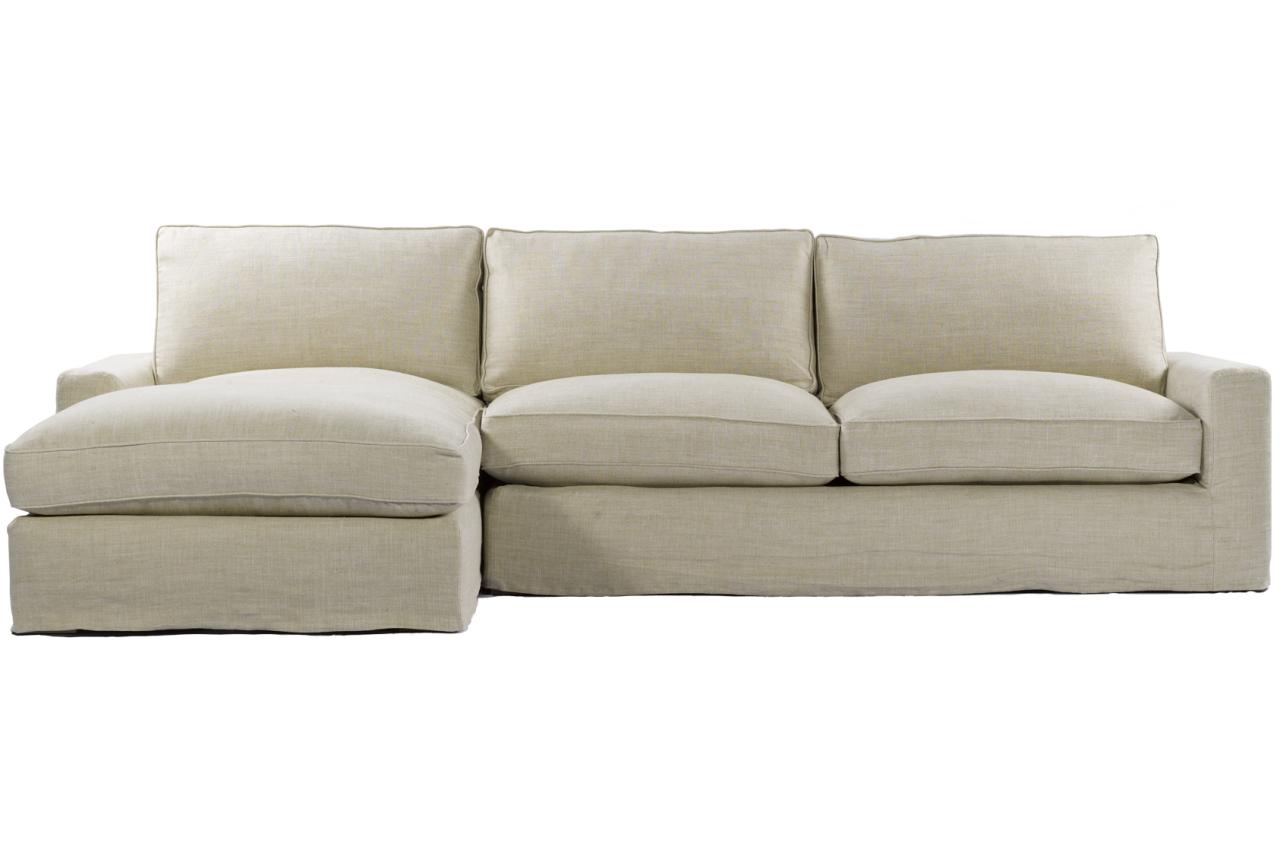 Casual Beige Belgian Linen Upholstered Deep Sectional Sofa Zin Home