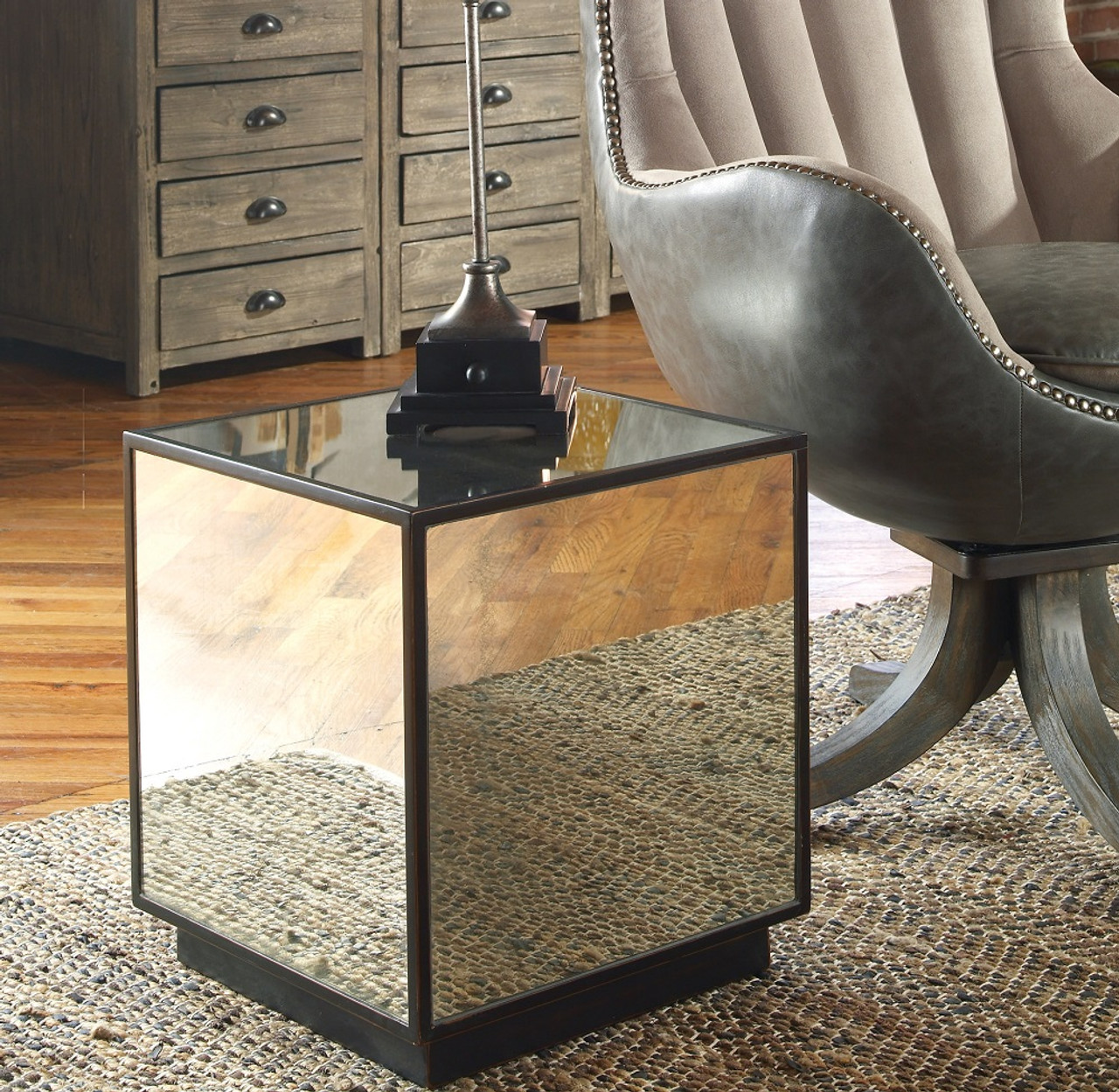 Matty Cube Mirrored Side Table | Zin Home