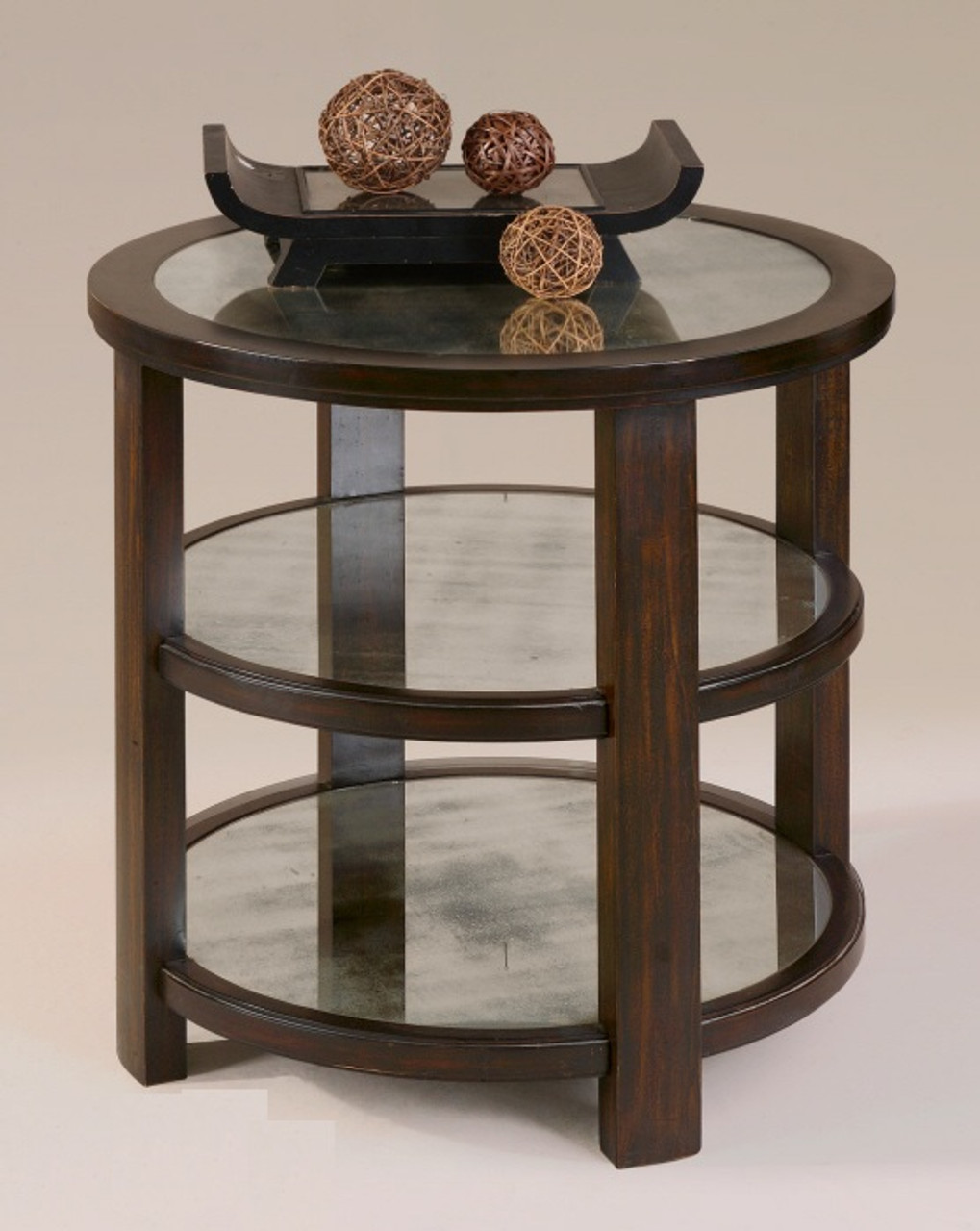 Monteith Round Mirrored Side Table Zin Home