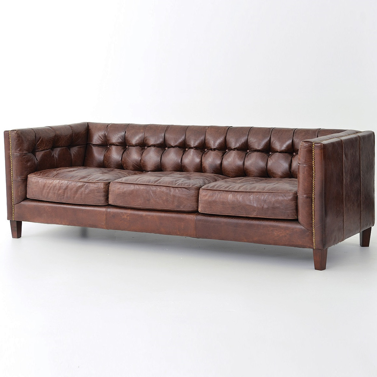 - Abbott Vintage Cigar Tufted Leather Sofa Zin Home