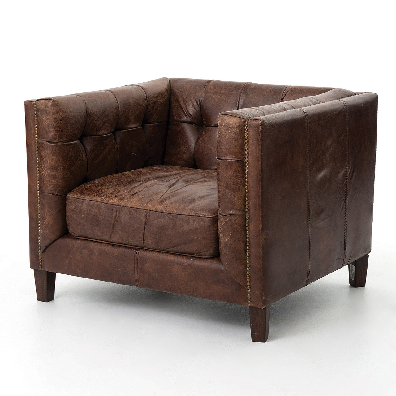 Abbott Vintage Cigar Tufted Leather Club Chair | Zin Home