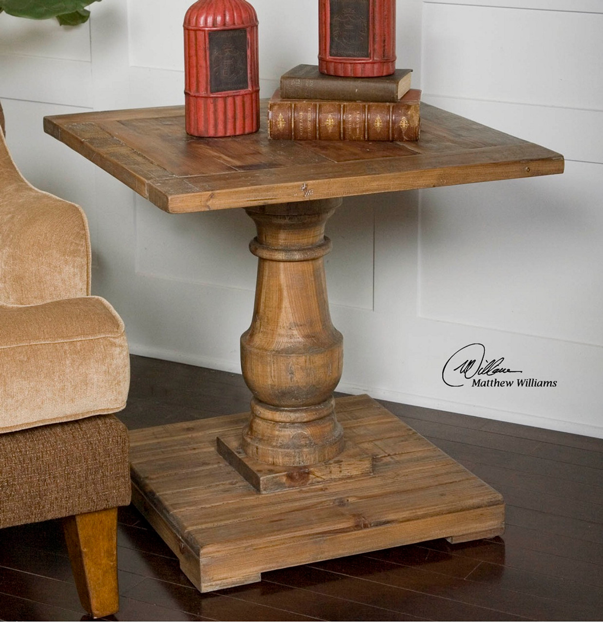 Distressed Wood Side Table
