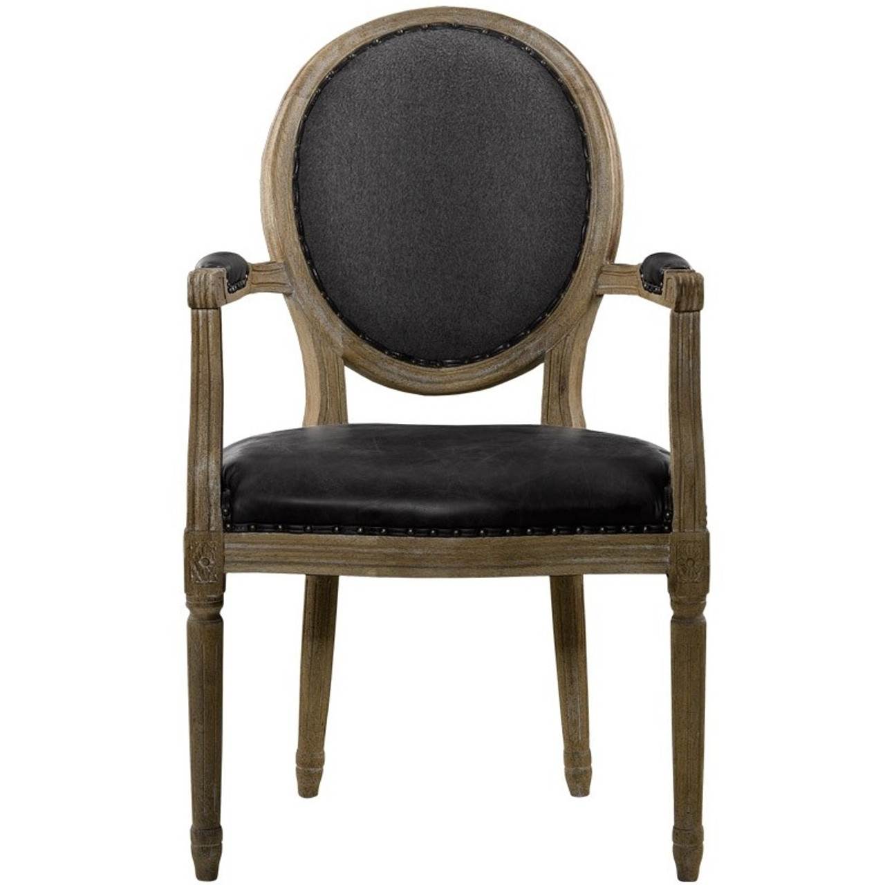 Louis Dining Chair In Black Leather Zin Home