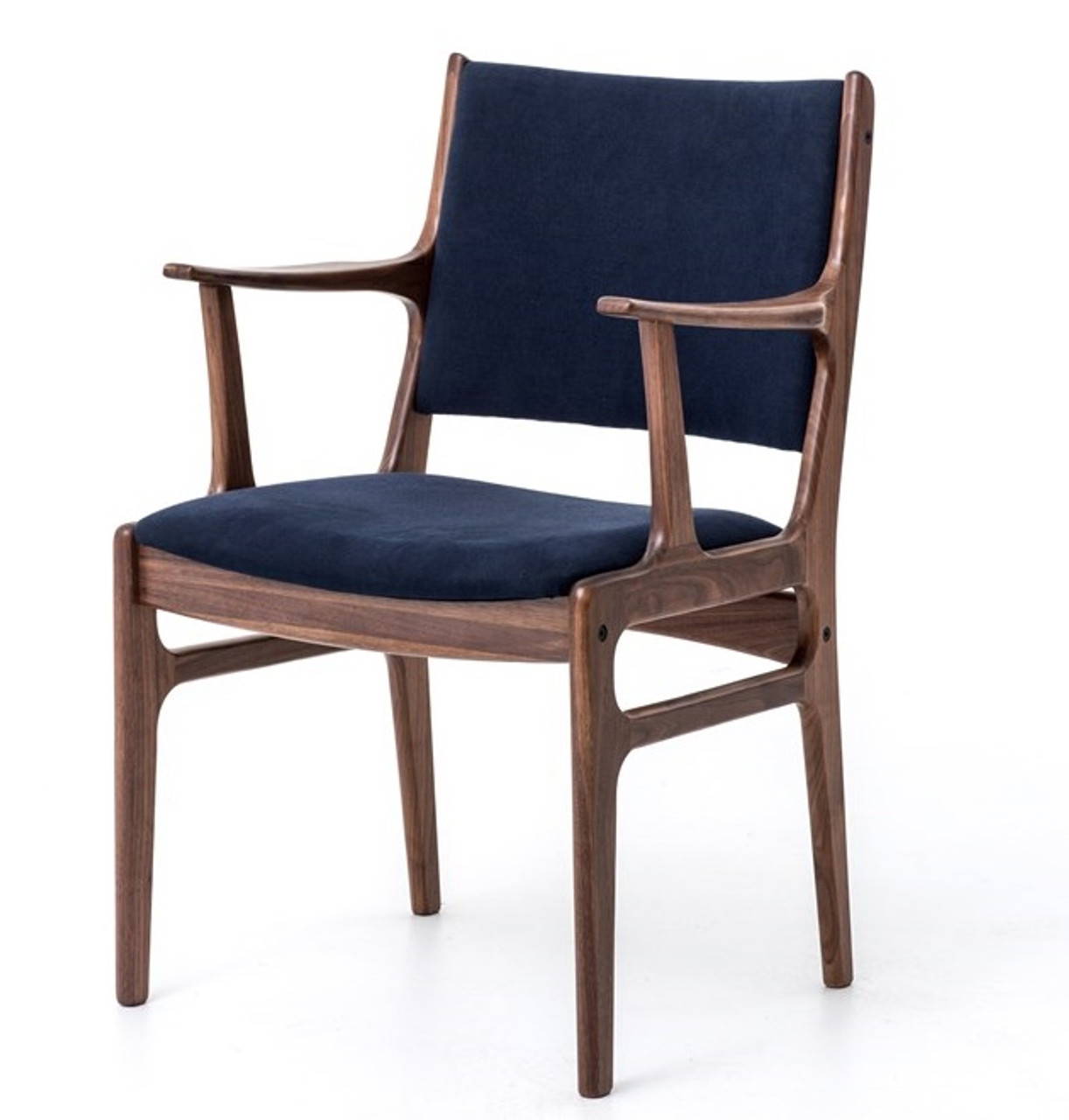 Picture of: Mid Century Modern Bina Dining Armchair With Blue Canvas Zin Home