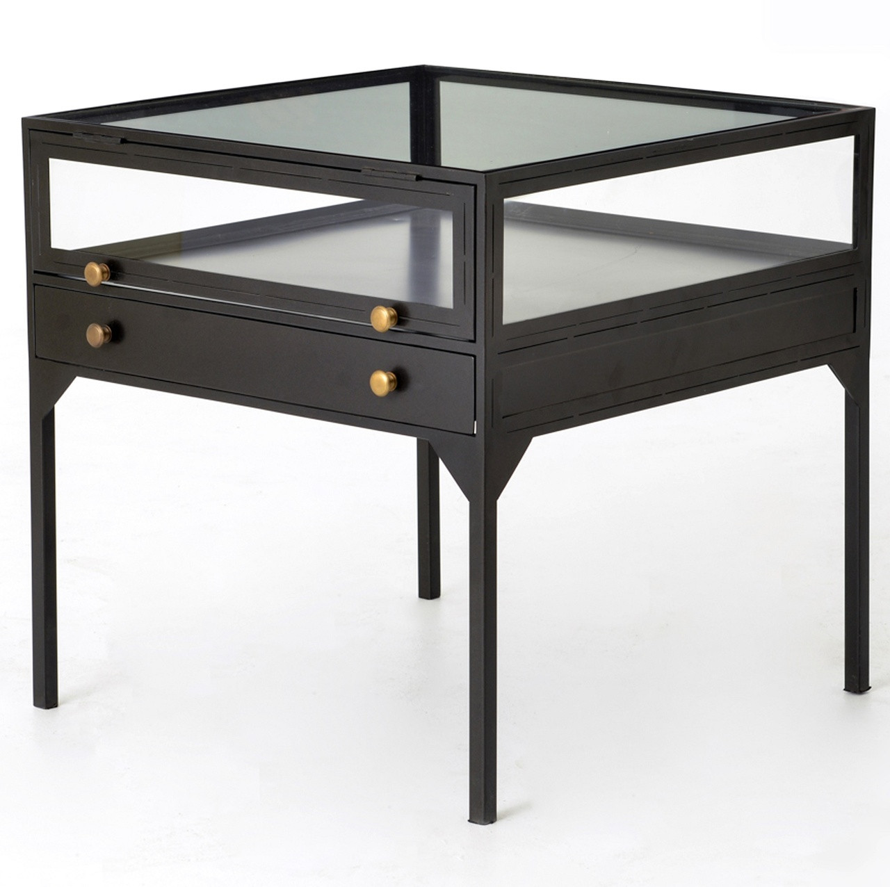 Shadow Box Industrial Metal And Glass Side Table Zin Home