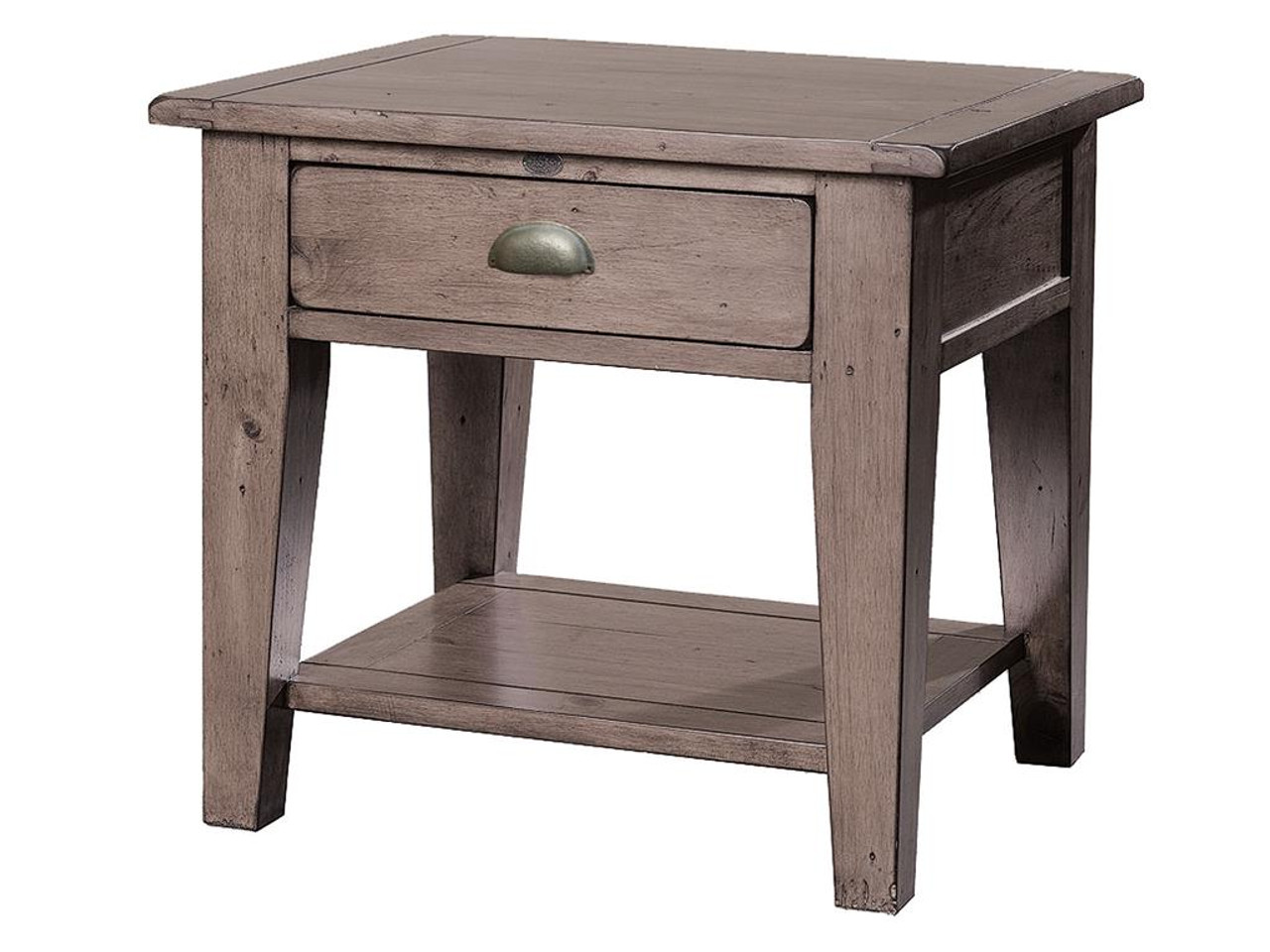 Merveilleux Coastal Solid Reclaimed Wood Side Table With 1 Drawer