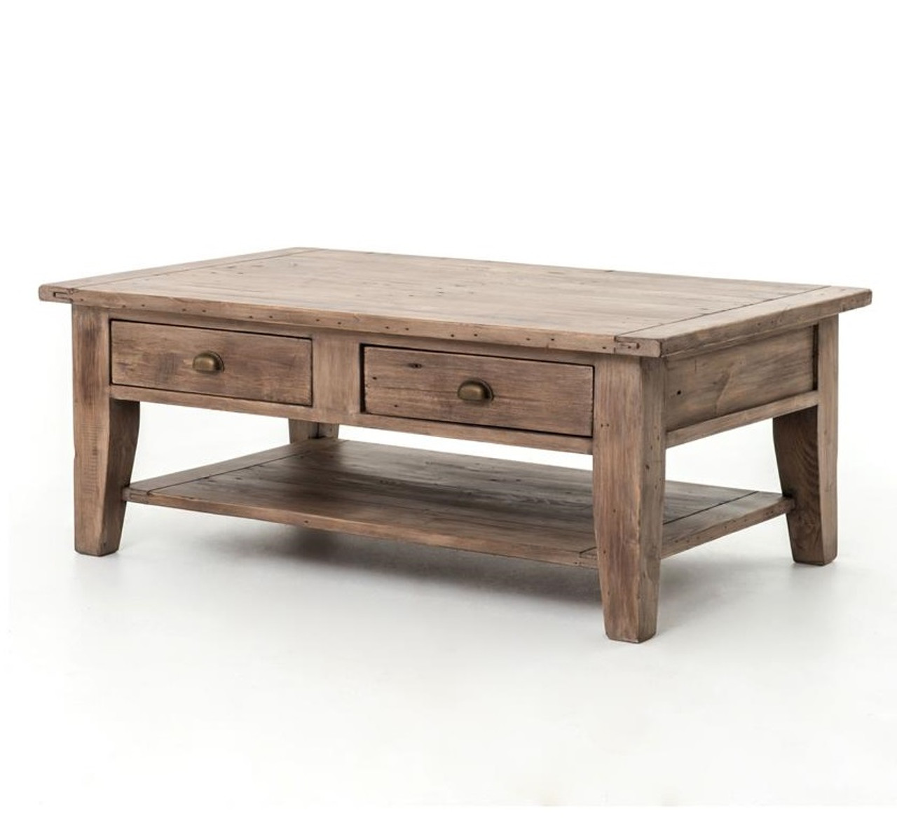Rustic Coffee Table.Coastal Solid Wood Coffee Table With Drawers