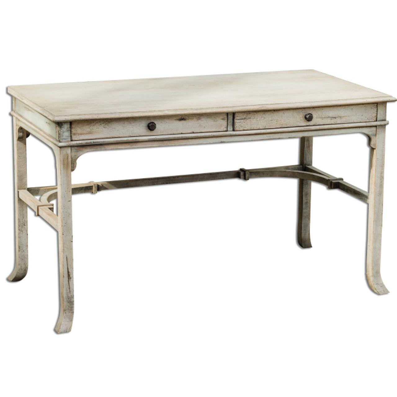 shabby chic desk - Antiqued White Bridgely Rustic Wood Vintage Writing Desk Zin Home
