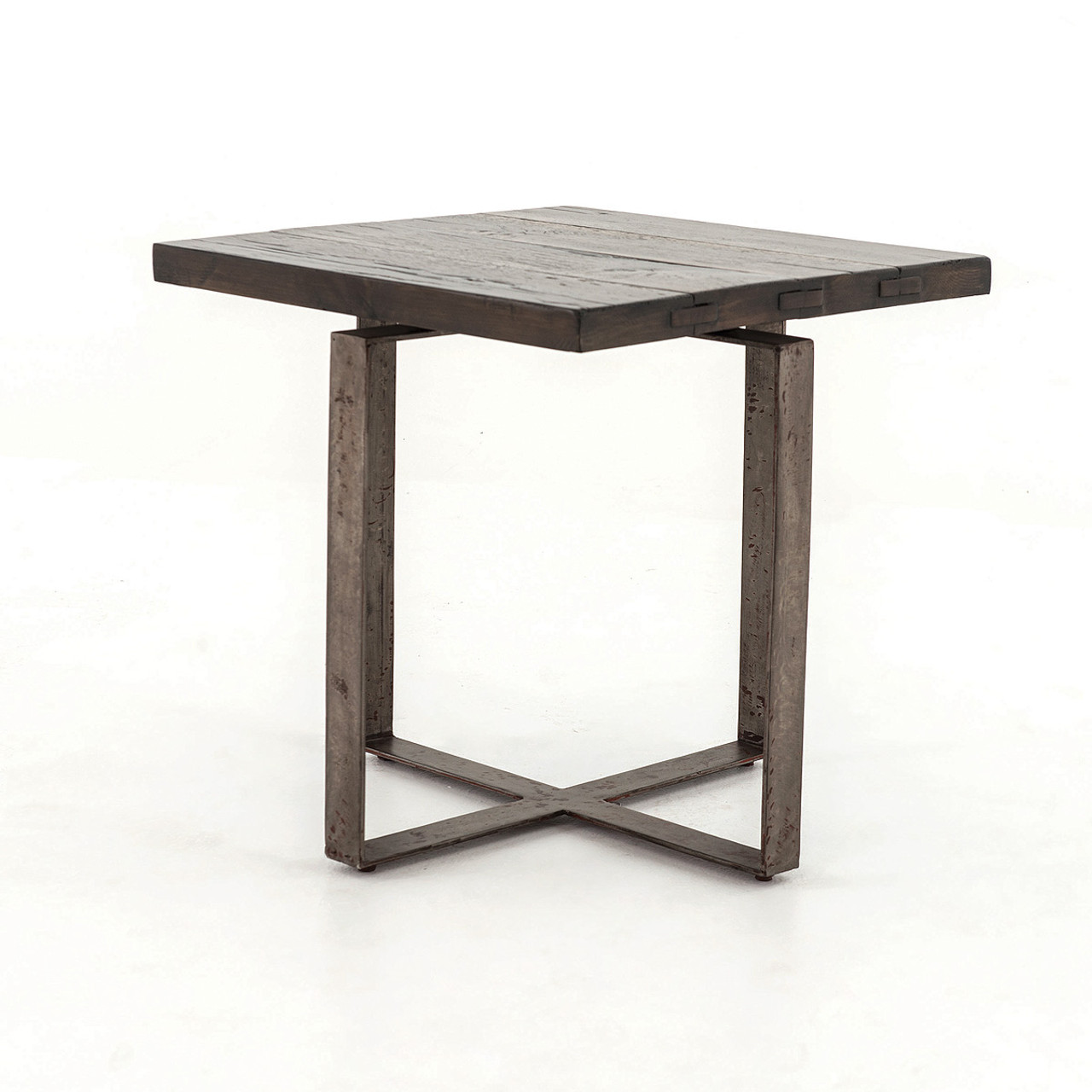 Brant Square Side Table With Wrought Iron Base Zin Home