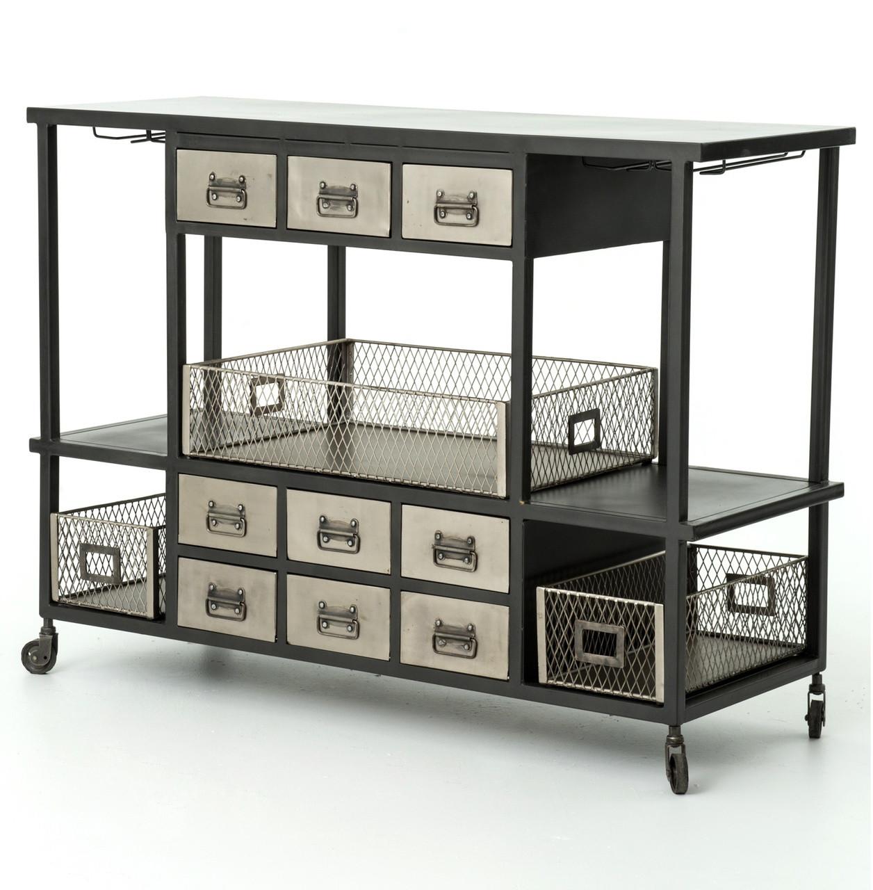 Antiqued Nickel Industrial Rolling Bar Cart Sideboard Zin Home