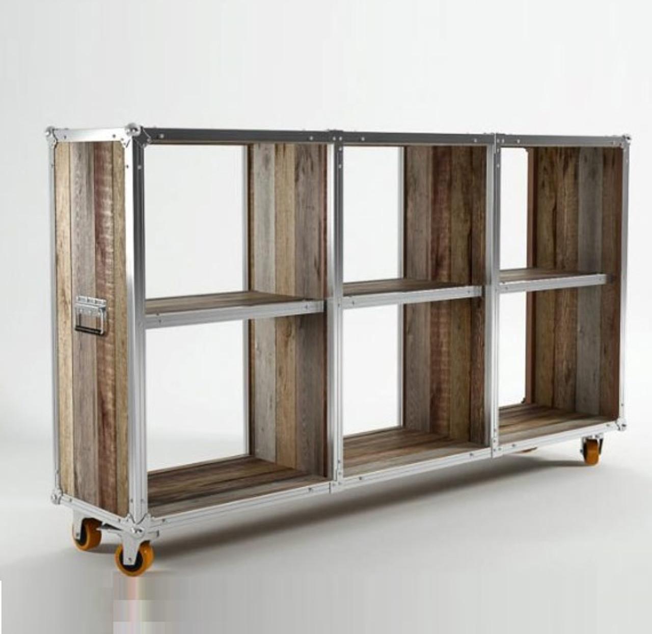 Industrial Loft Reclaimed Teak Low Bookcase