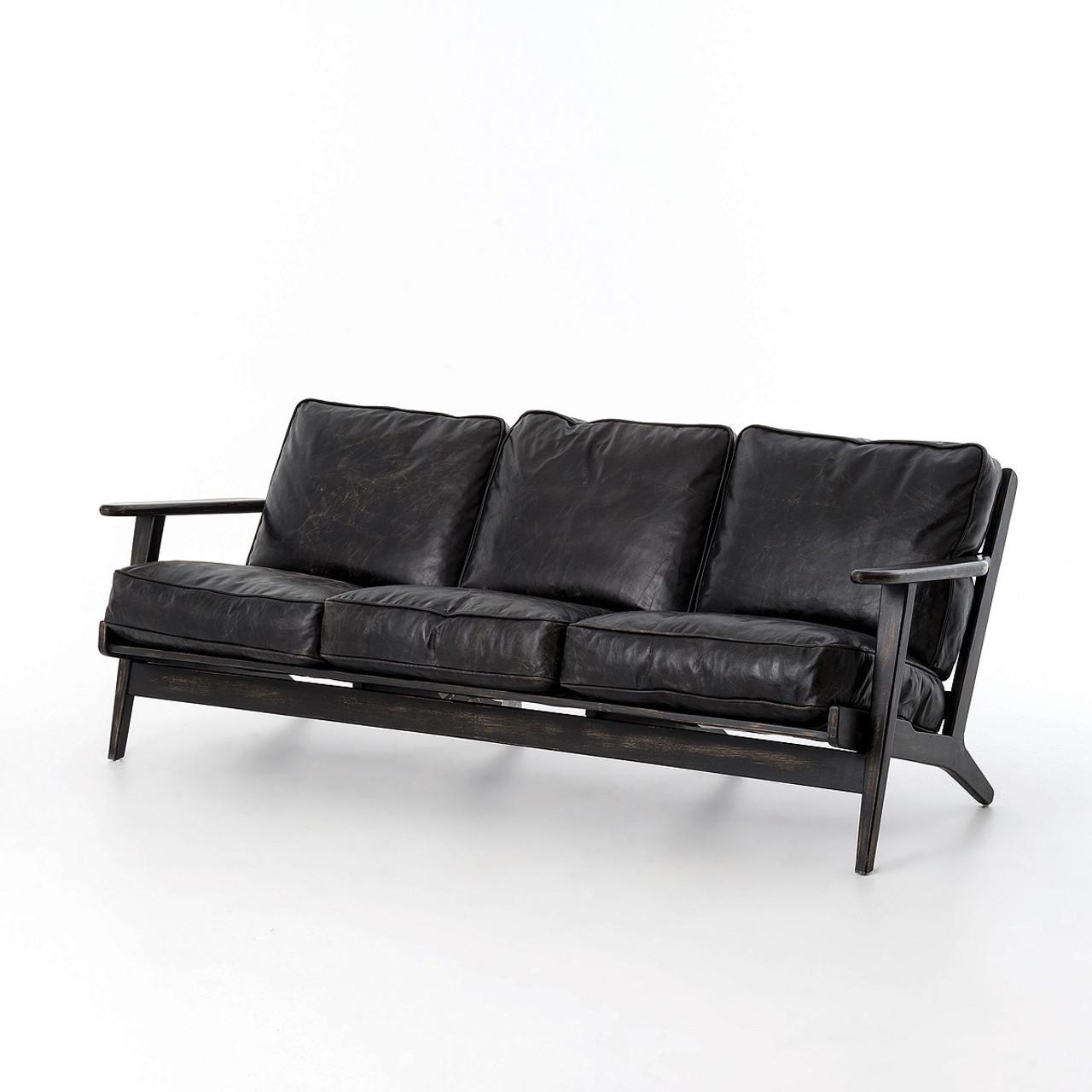 Mid Century Modern Brooks Leather Sofa Zin Home