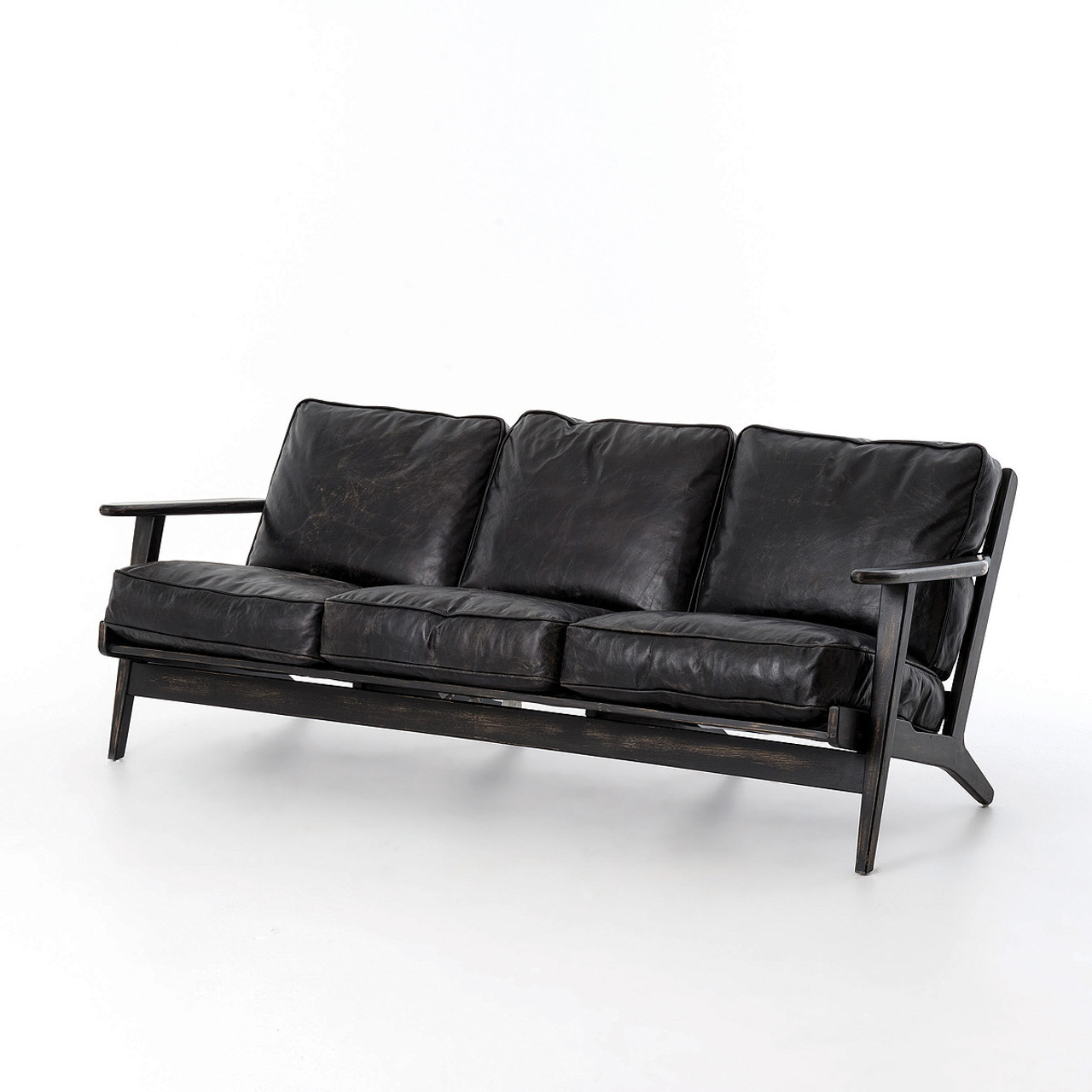 Mid-Century Modern Brooks Leather Sofa