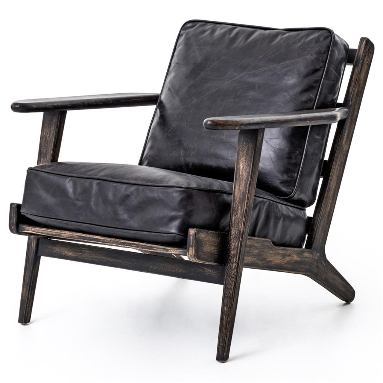 Mid century modern brooks leather lounge chair