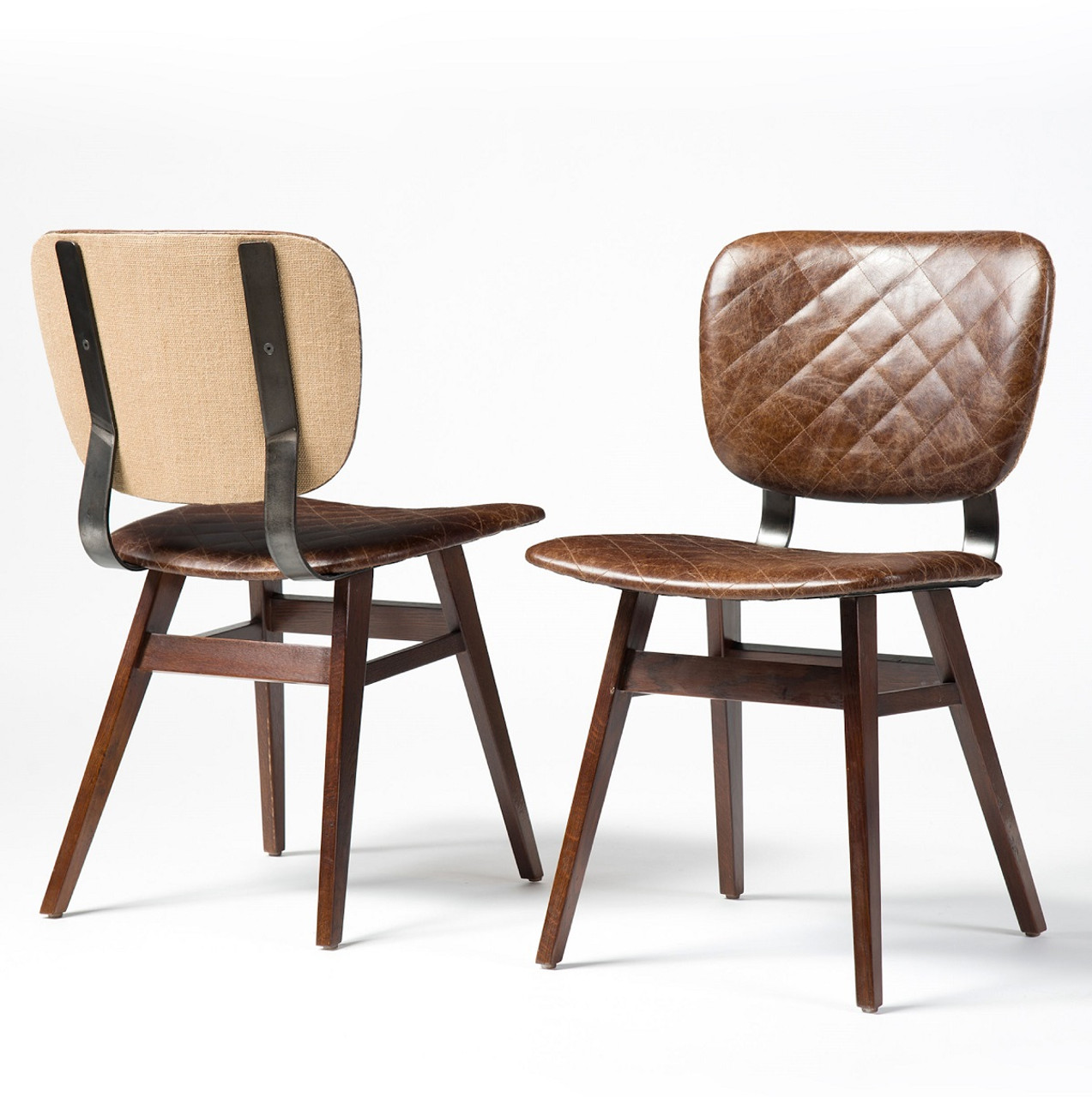 Sloan Quilted Havana Leather Dining Side Chair