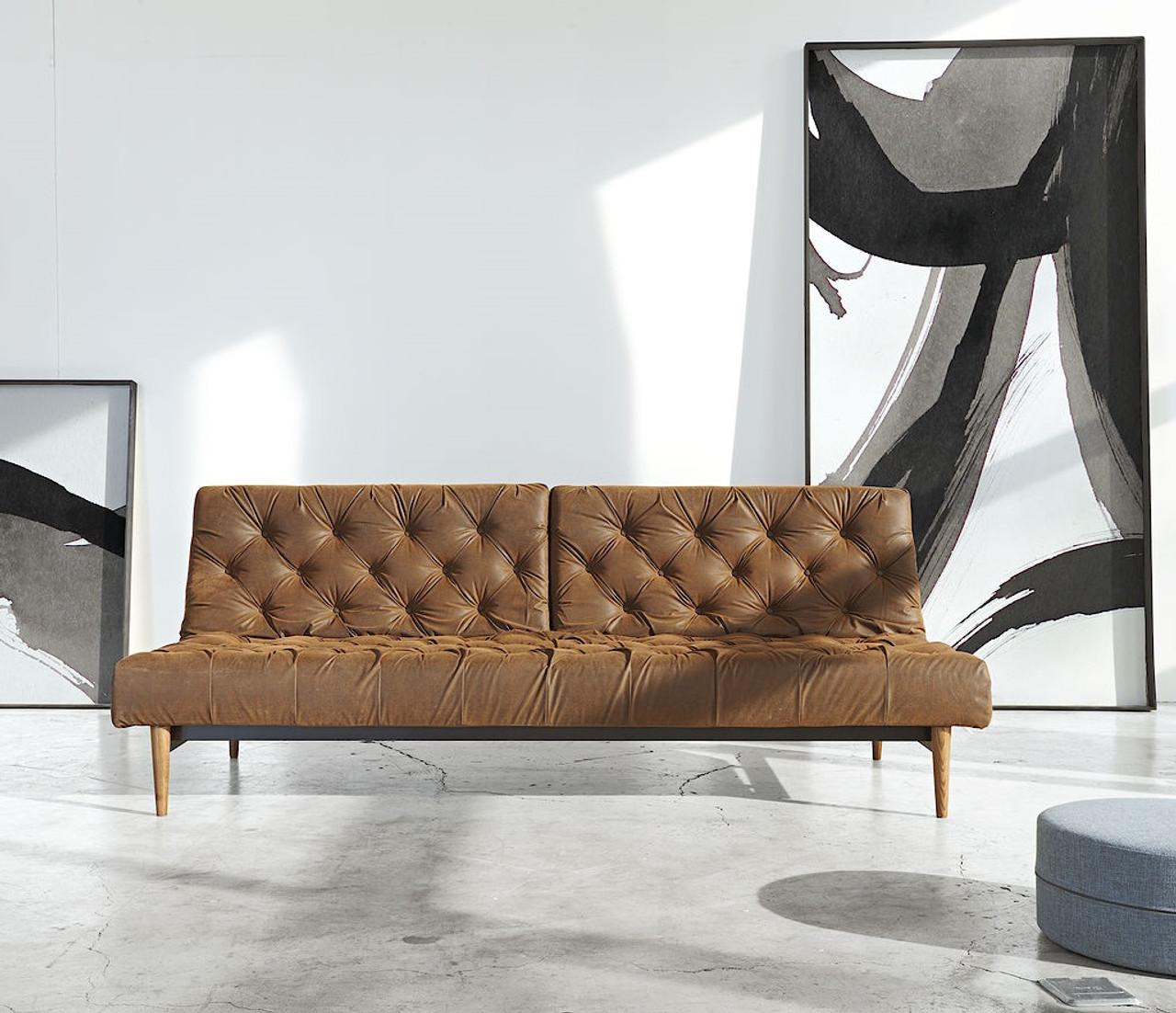 Beau Innovation USA Oldschool Vintage Leather Chesterfield Sleeper Sofa Bed