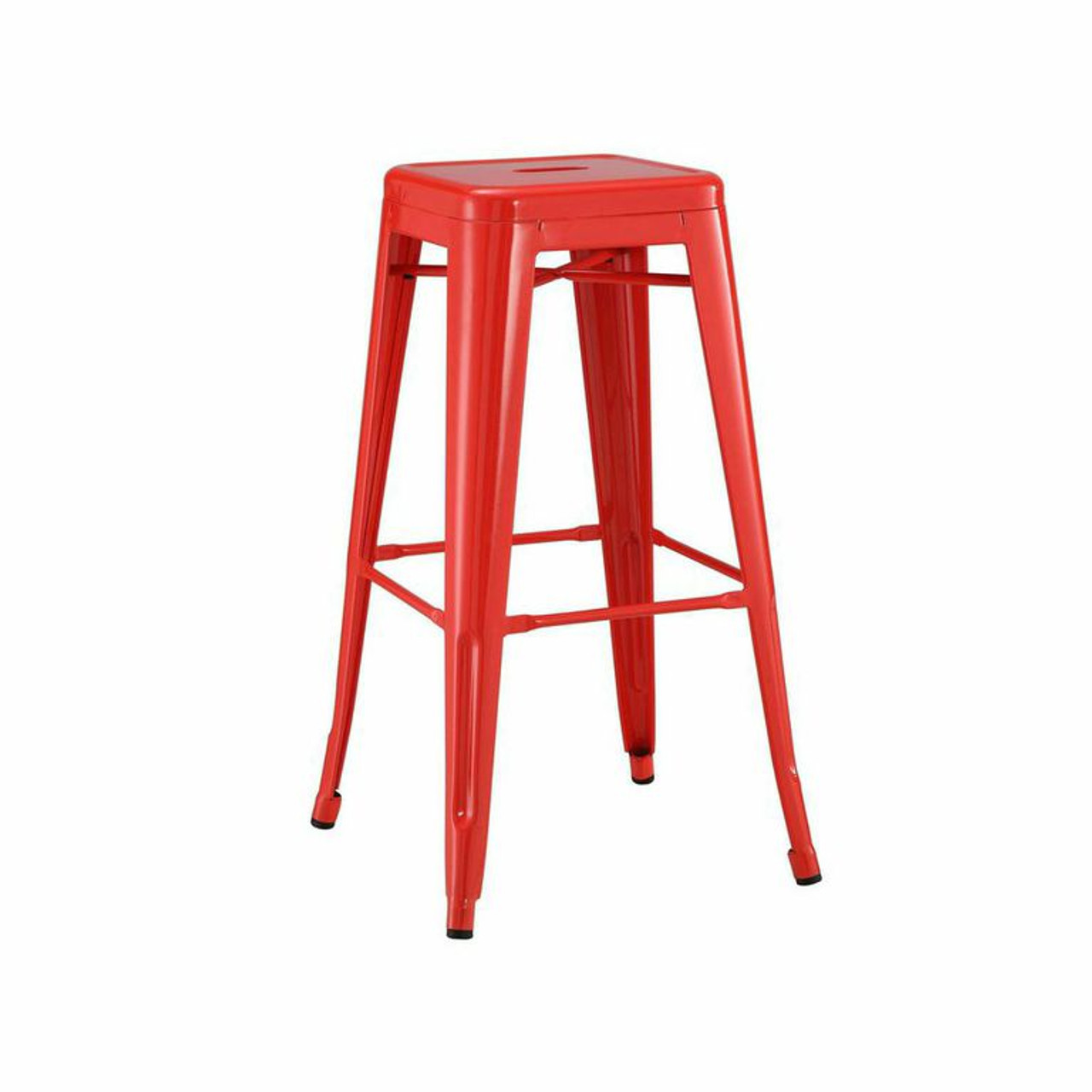 58a37614137 French Industrial style Metal BarStools in RED