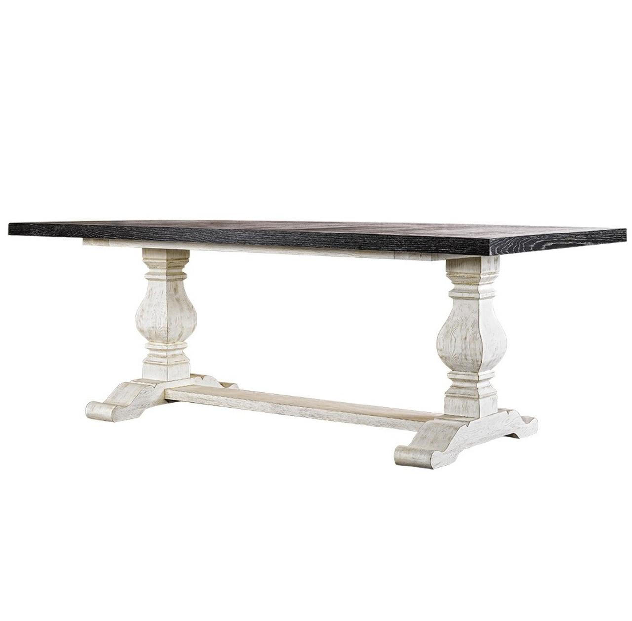 Kingdom Antique Black White Trestle Dining Table 84 Zin Home