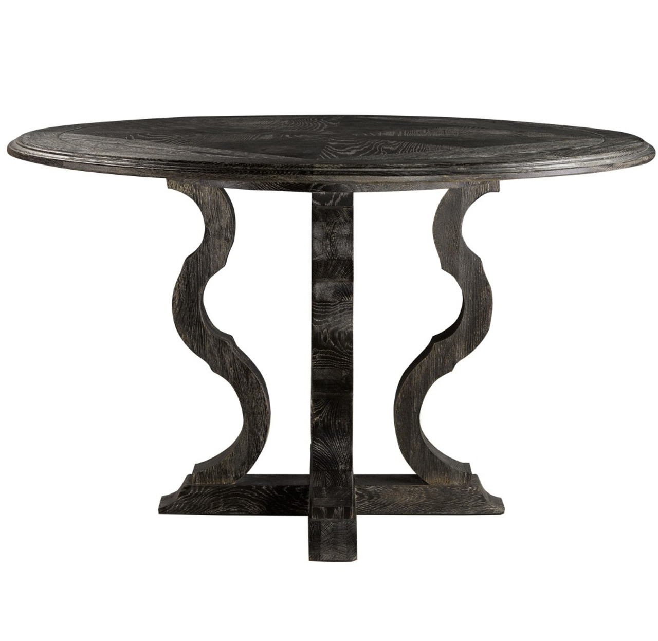 French Antique Black Round Pedestal Dining Table 50\