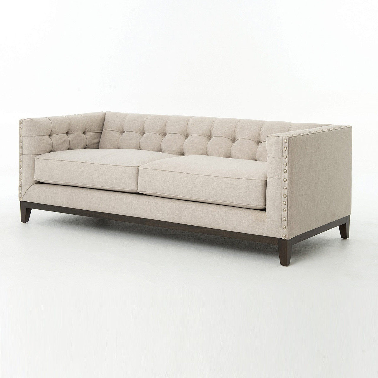 Greenwich modern tufted linen sofa atelier greenwich nailhead sofa