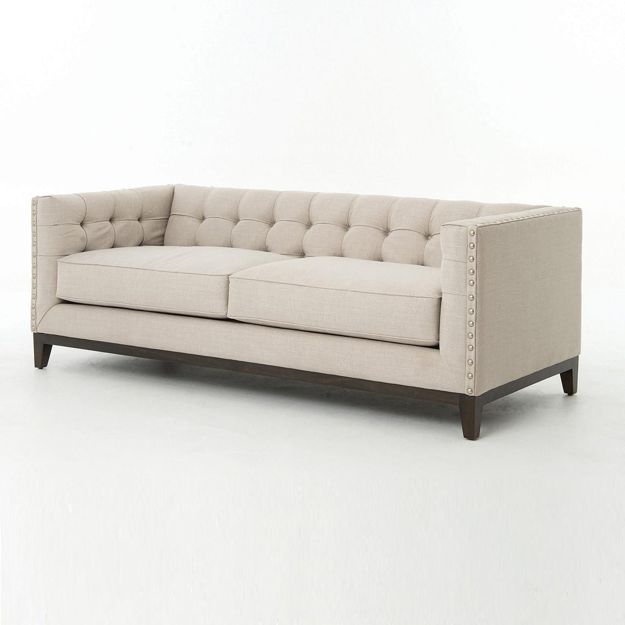 Greenwich Modern Tufted Linen Sofa