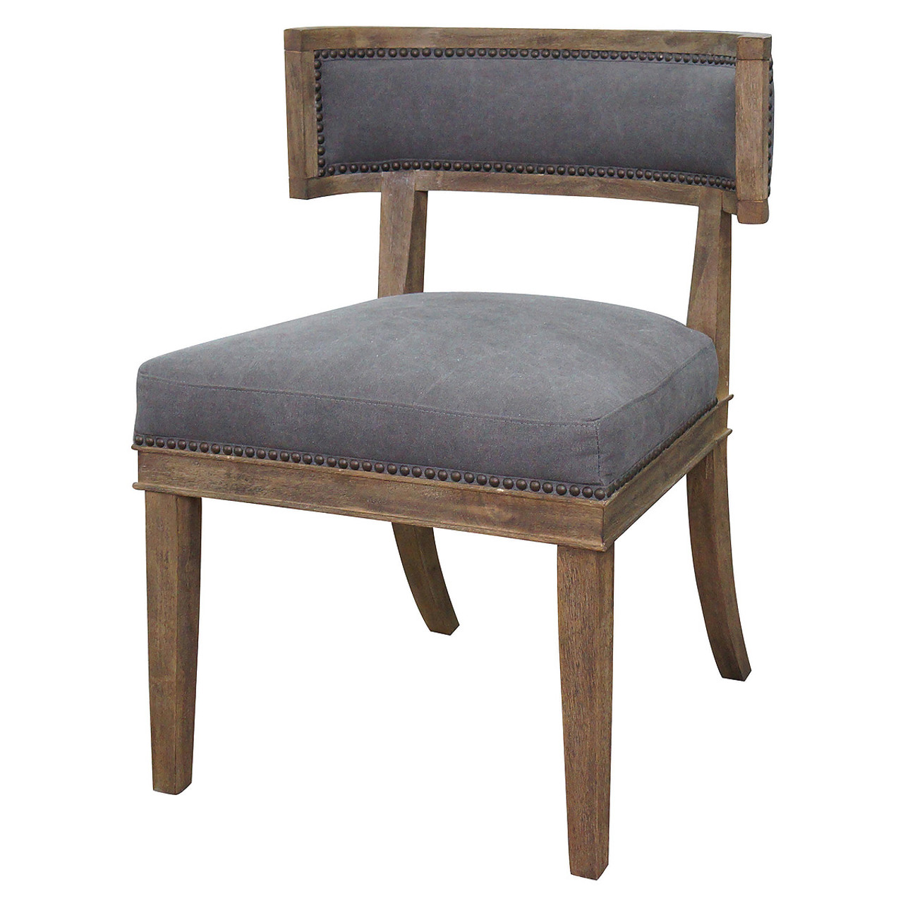 Nailhead dining chairs dining room Tufted Nailhead Carter Upholstered Curved Dining Chair Zin Home Carter Upholstered Curved Dining Chair Zin Home