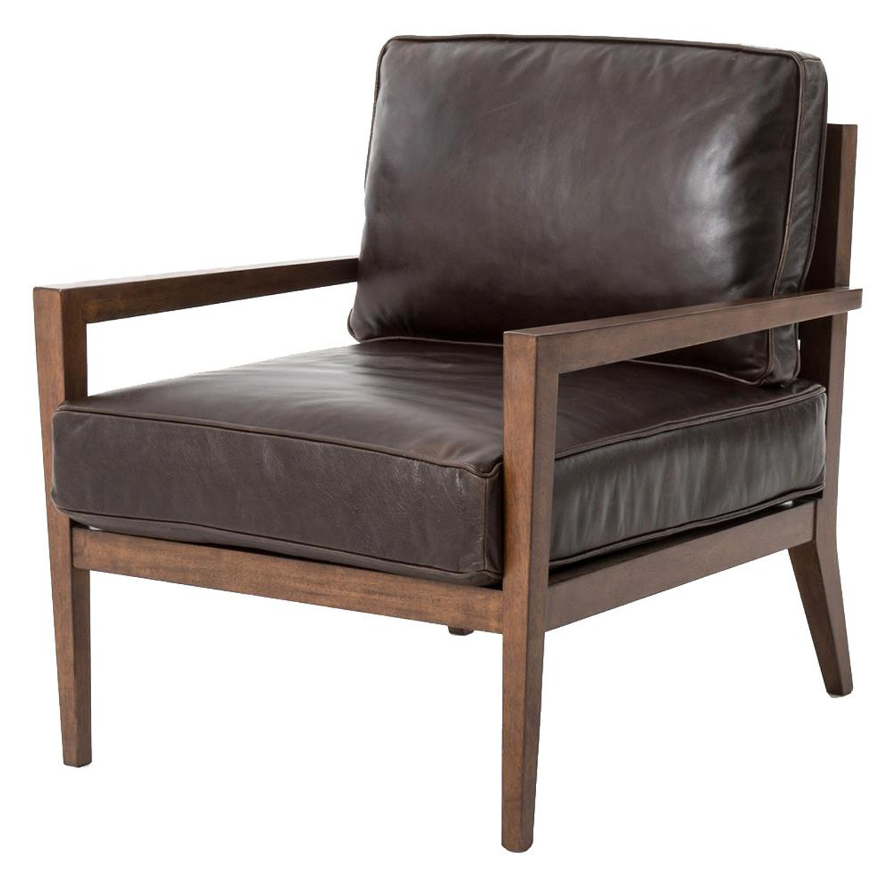 Delicieux Laurent Wood Frame Brown Leather Accent Chair
