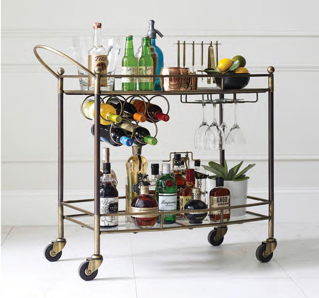 Coles Antique Brass And Glass Bar Cart Zin Home
