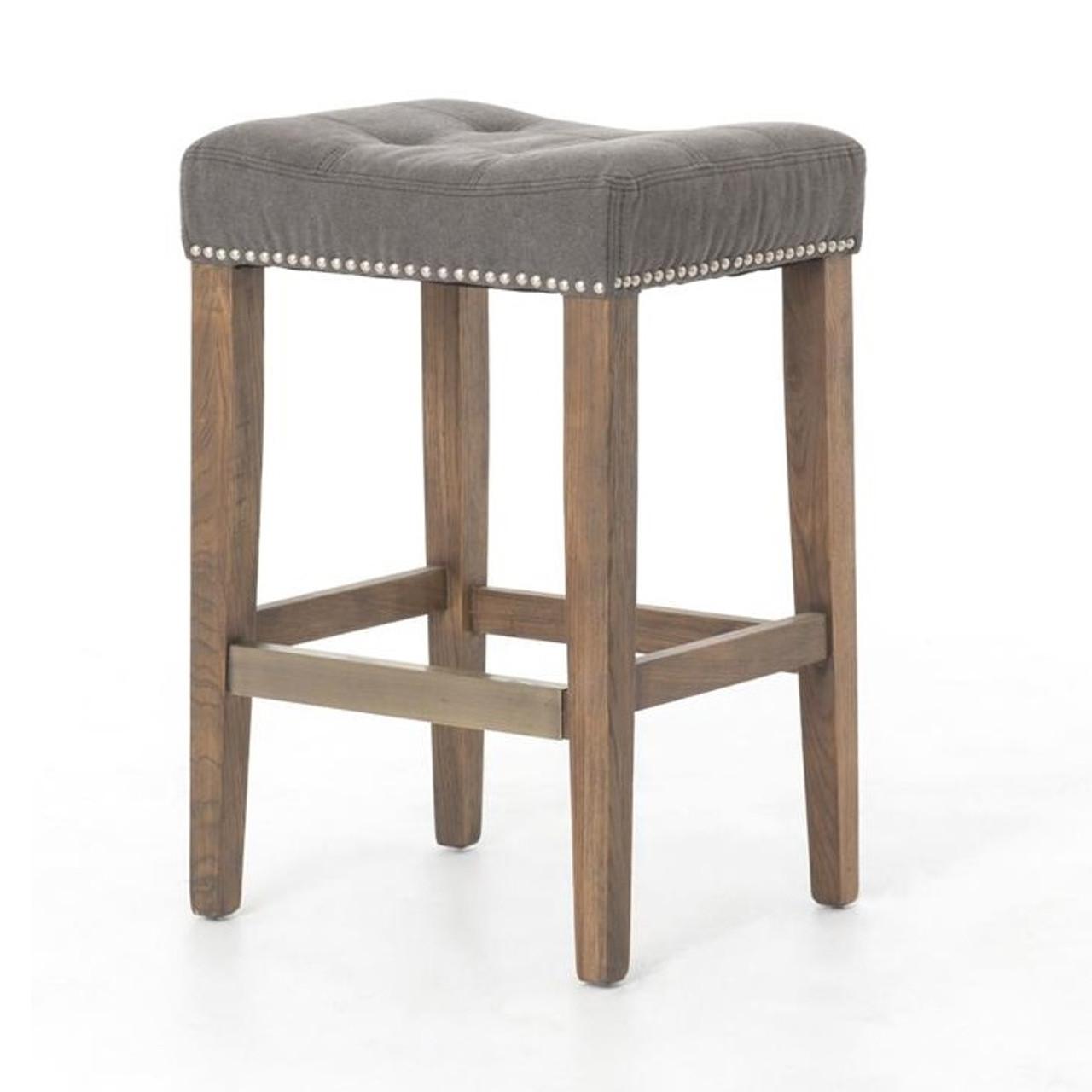 Sensational Ashford French Grey Tufted Nailhead Counter Stool Ibusinesslaw Wood Chair Design Ideas Ibusinesslaworg
