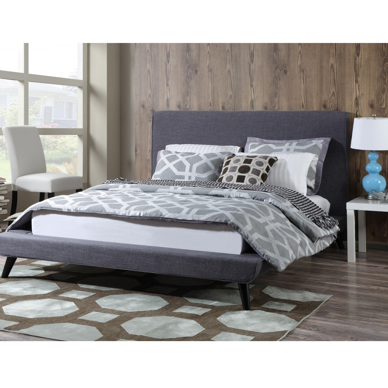 Picture of: Nixon Mid Century Modern Grey Linen Queen Platform Bed Zin Home