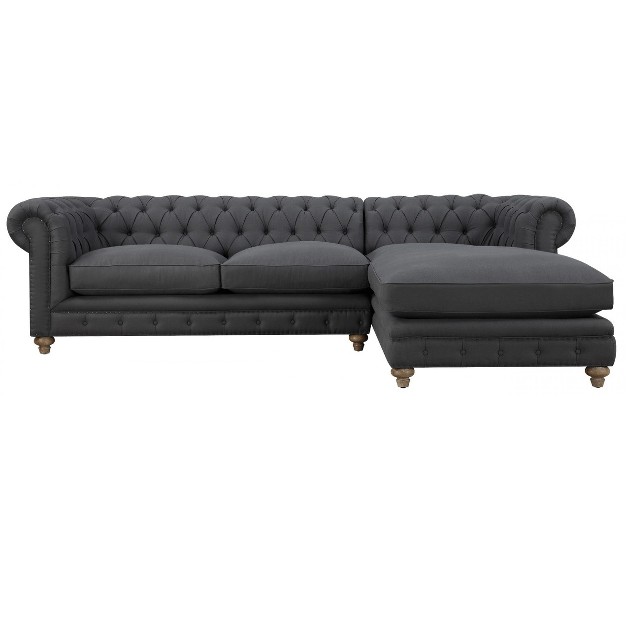 Oxford Grey Linen Upholstered Chesterfield Sectional Zin Home