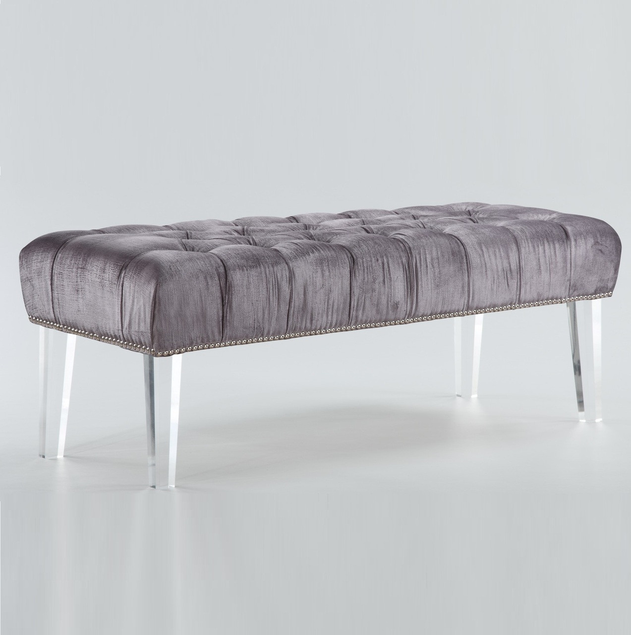 Stella grey velvet tufted acrylic bed end bench