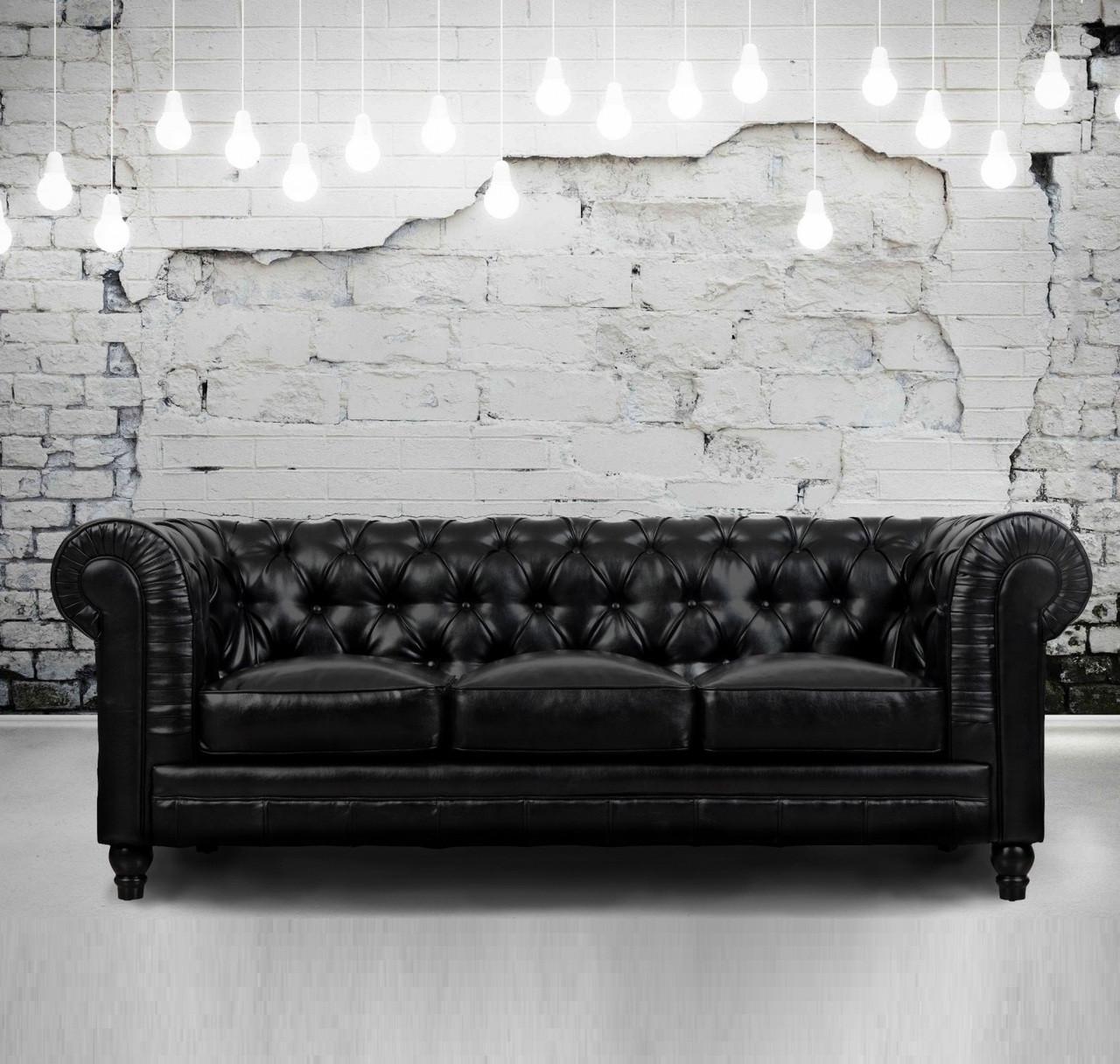 Zahara Tufted Black Leather Chesterfield Sofa
