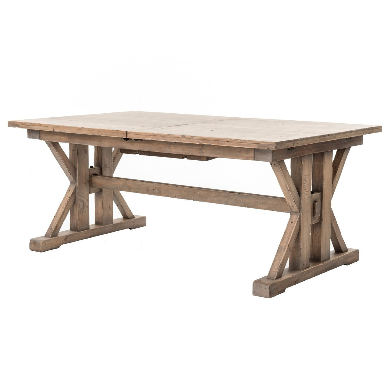 Coastal Natural Wood Trestle Extension Dining Table 96 Zin Home