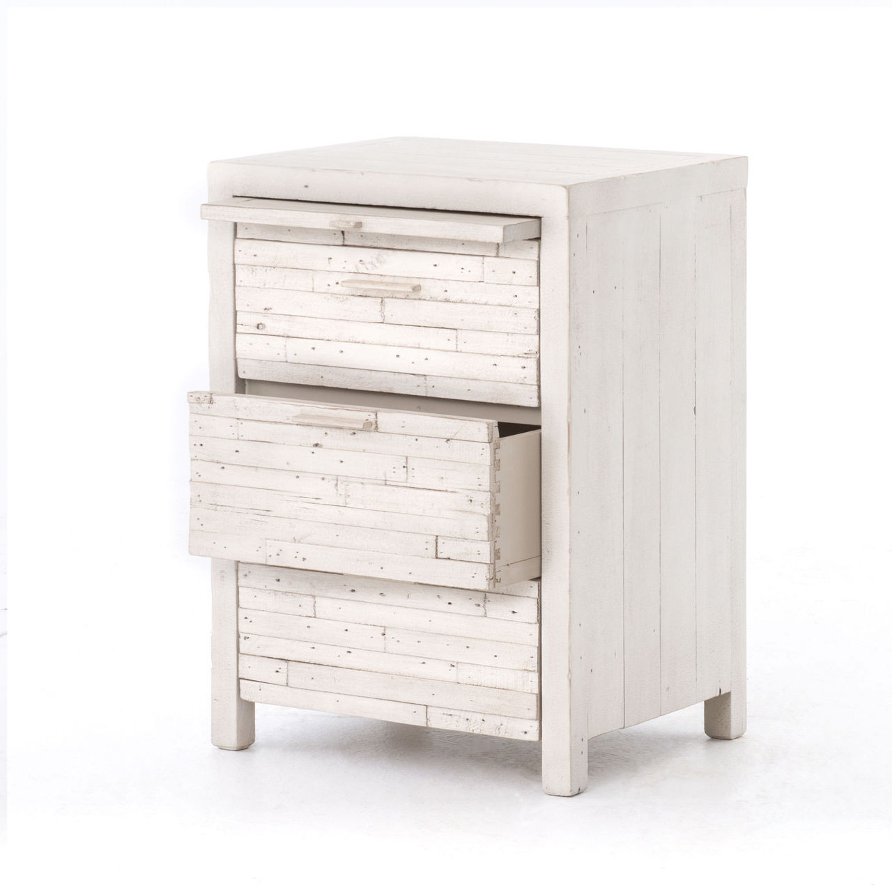Coastal Reclaimed Wood White 3 Drawer Nightstand