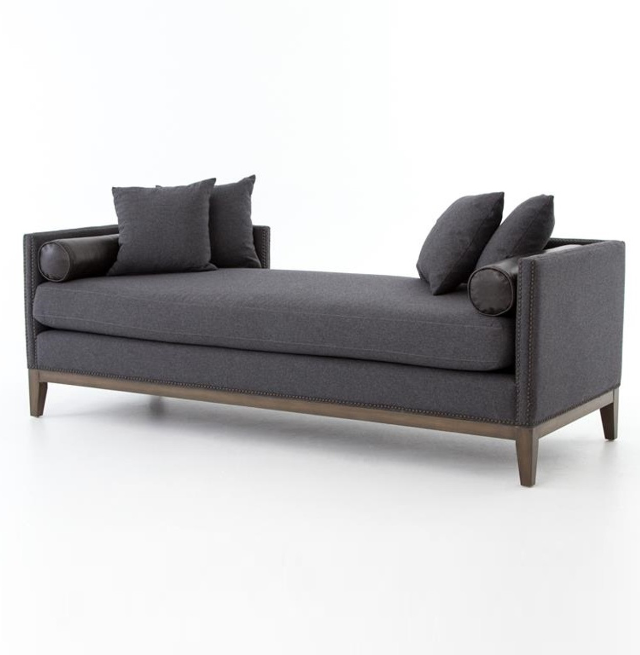 - Kensington Charcoal Upholstered Double Chaise Daybed Zin Home