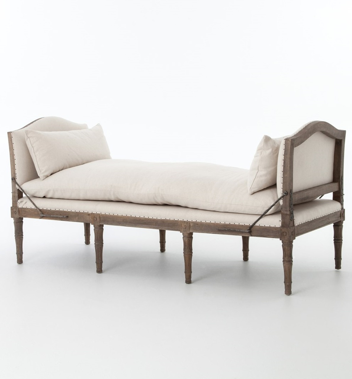 Pleasing Allison French Oak Upholstered Chaise Bed End Bench Machost Co Dining Chair Design Ideas Machostcouk