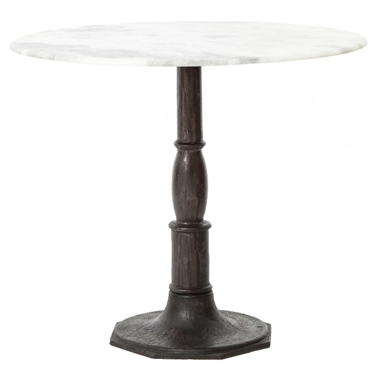 French Industrial White Marble Top Round Bistro Table 36