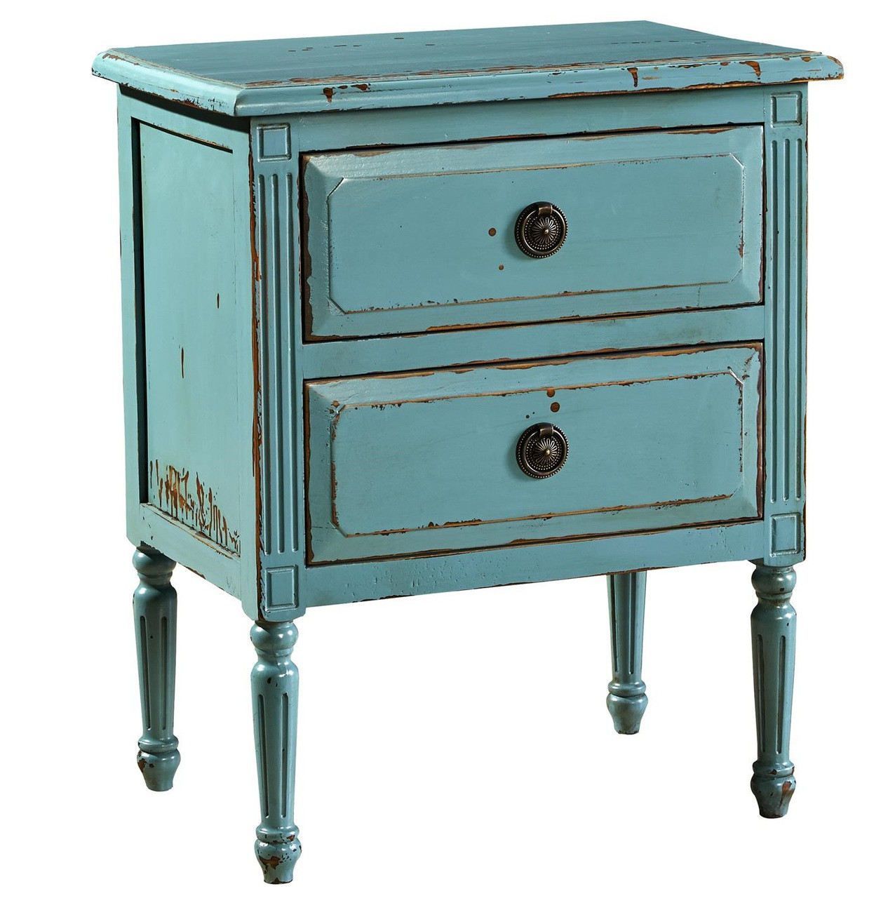 Jolie French Country Distressed Blue Oak Nightstand